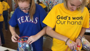 Picture of volunteers loading Blessing Bags